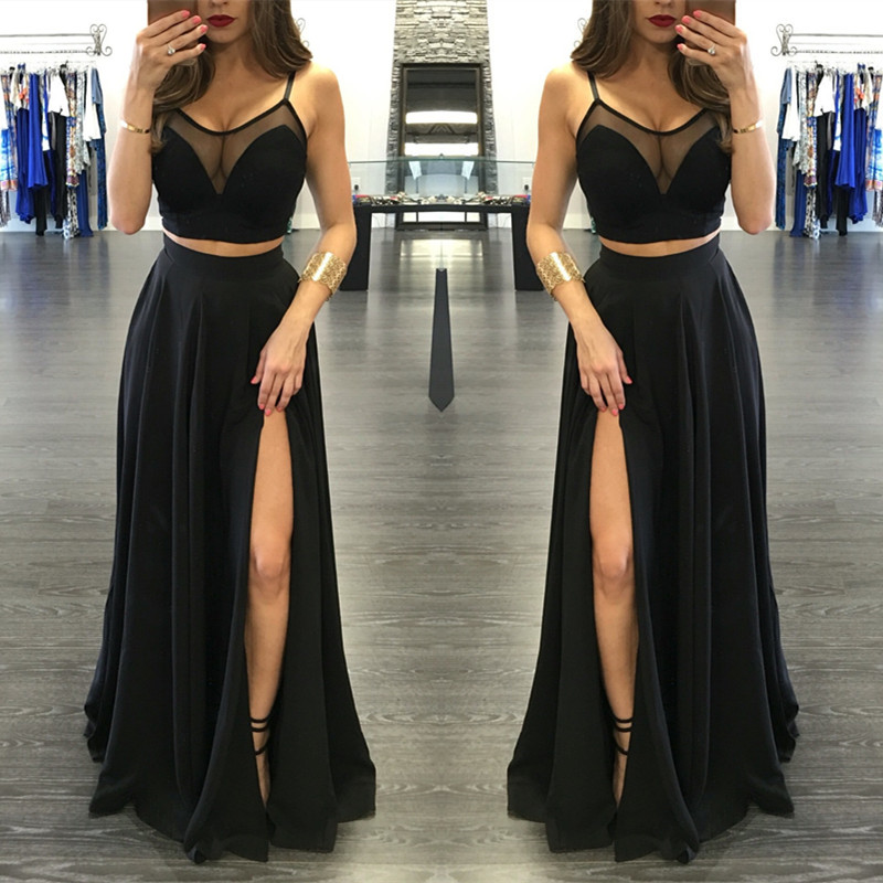 2 Pieces Prom Dress Black Prom Dress Modest Prom Dress 2
