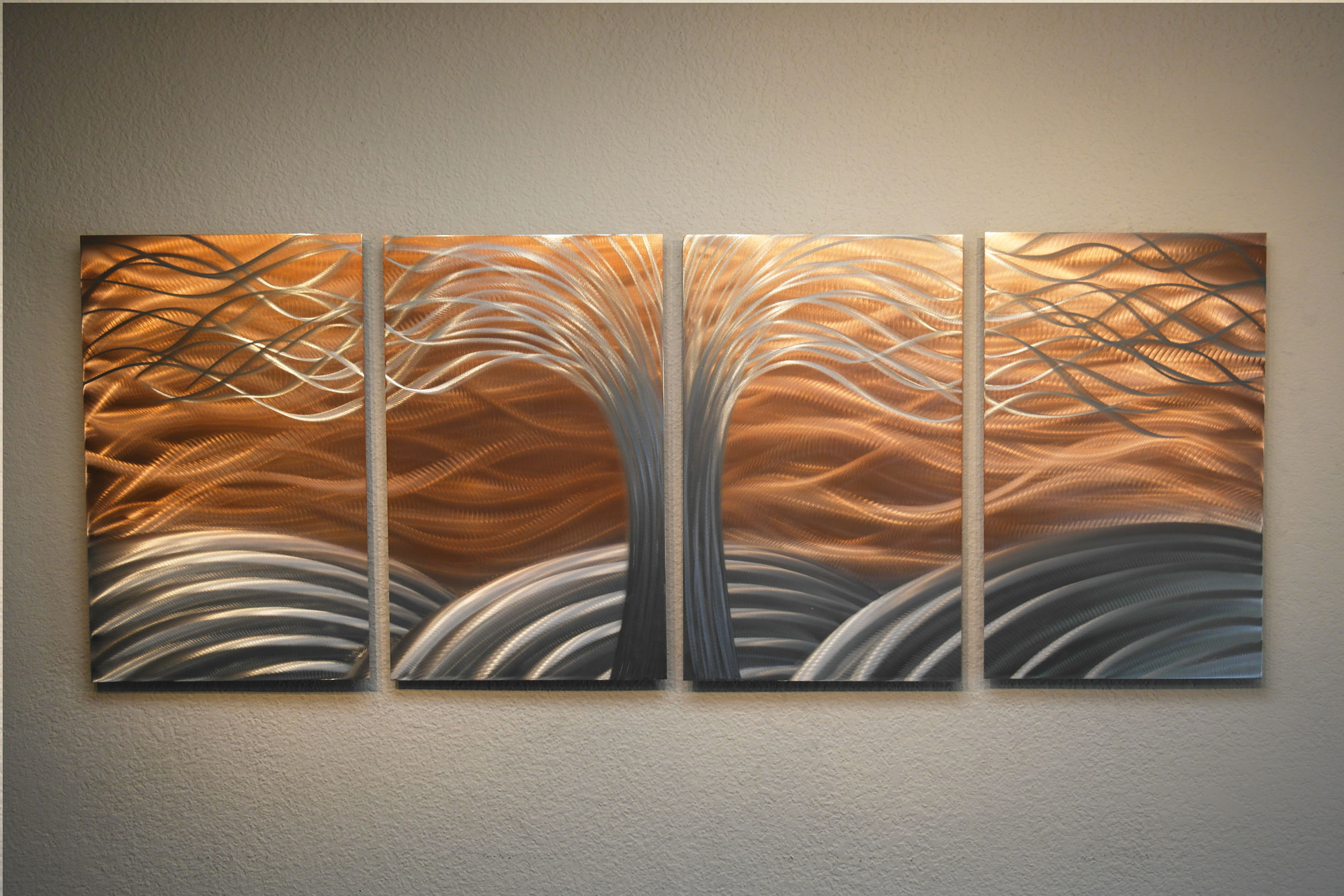 Tree of life bright copper metal wall art abstract for Contemporary decorative accessories