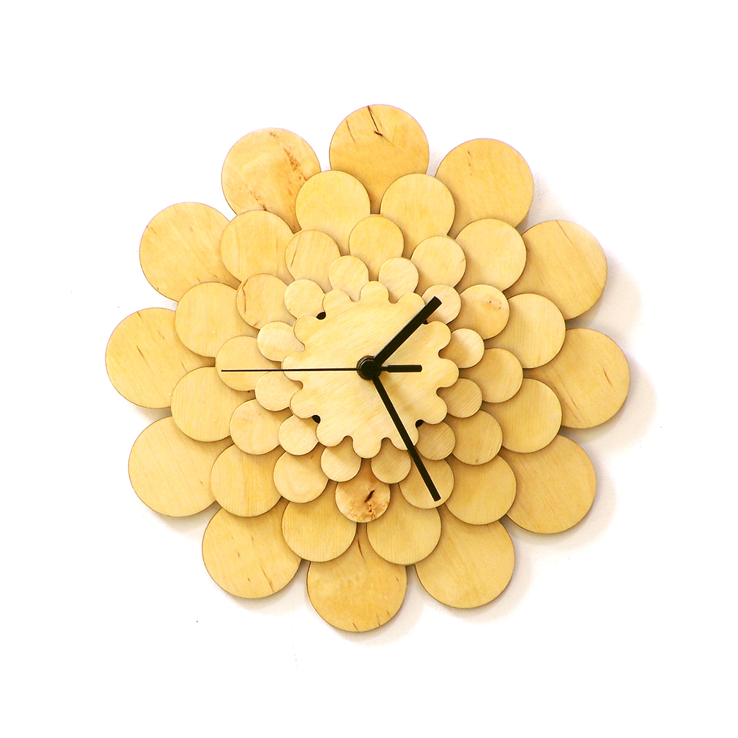 Dahlia M / L - unique stylish wooden wall clock, a piece of wall art ...
