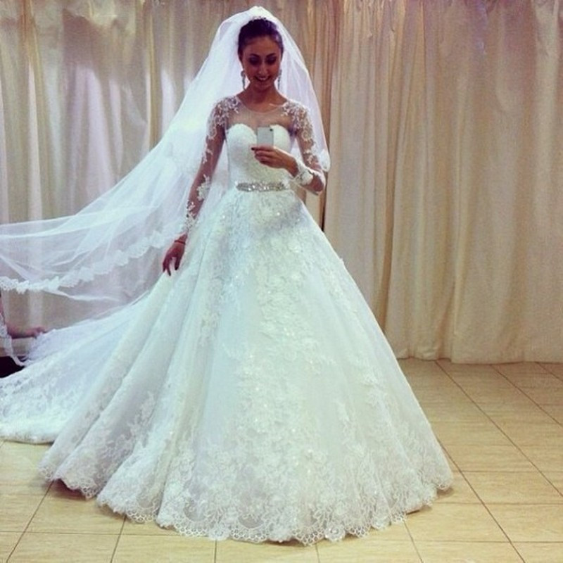 A223 Charming A Line Long Sleeve Lace Wedding Dress Beading Sashes ...