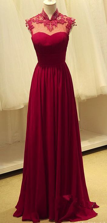 J183 High Neck Lace Top Prom Dress Long, Burgundy Long prom Dress ...