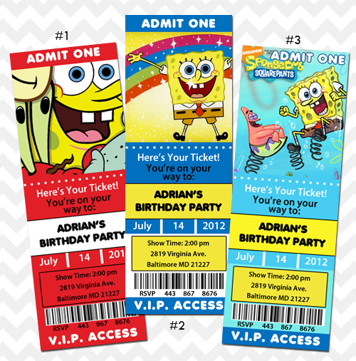 Spongebob Invitation Birthday Party