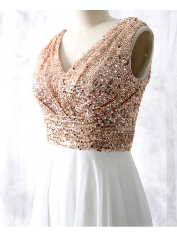 Rose Gold Sequin Bridesmaid Dresses,A Line Shiny Long Bridesmaid ...