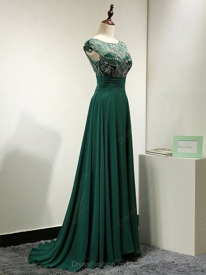 2017 Custom Made Charming Dark Green Prom Dress,Sleeveless Evening ...