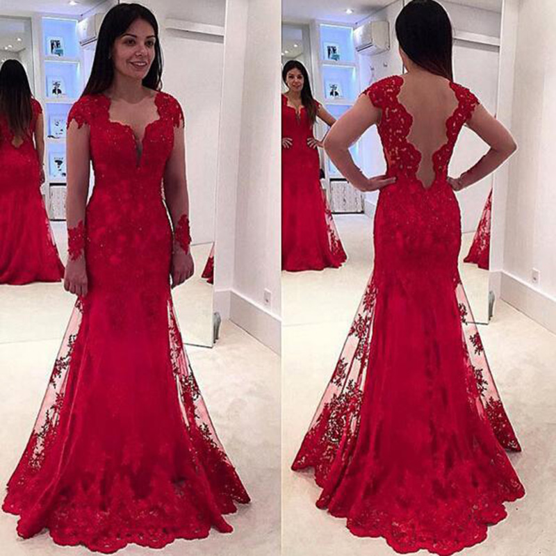 Long sleeves Long Prom Dress Wedding Party Dresses · Promtailor ...