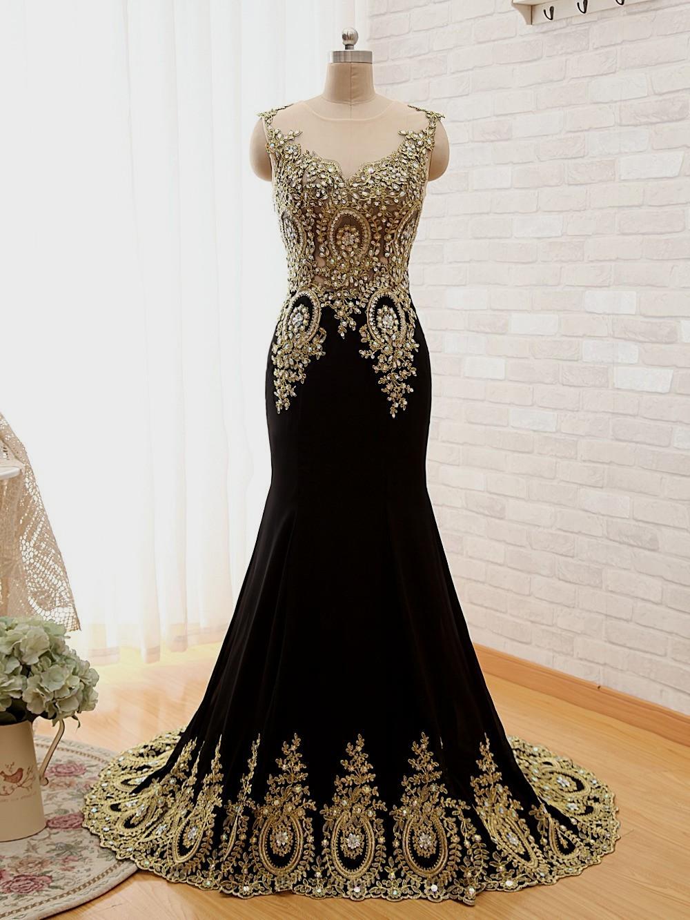 Gold And Black Lace Long Dress Www Pixshark Com Images