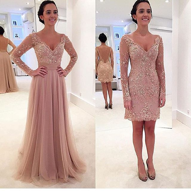 Charming Prom Dress,Long-Sleeves Prom Dress,A-Line Prom Dress,V-Neck ...