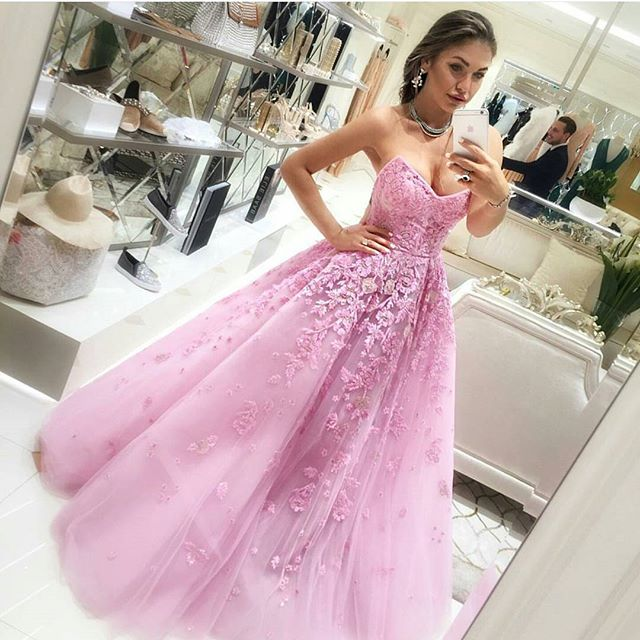 Chic Quinceanera Pink Ball Gown,Appliques Sweetheart Prom Dress ...
