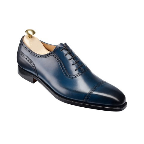 handmade mens formal shoes navy blue leather shoes men's