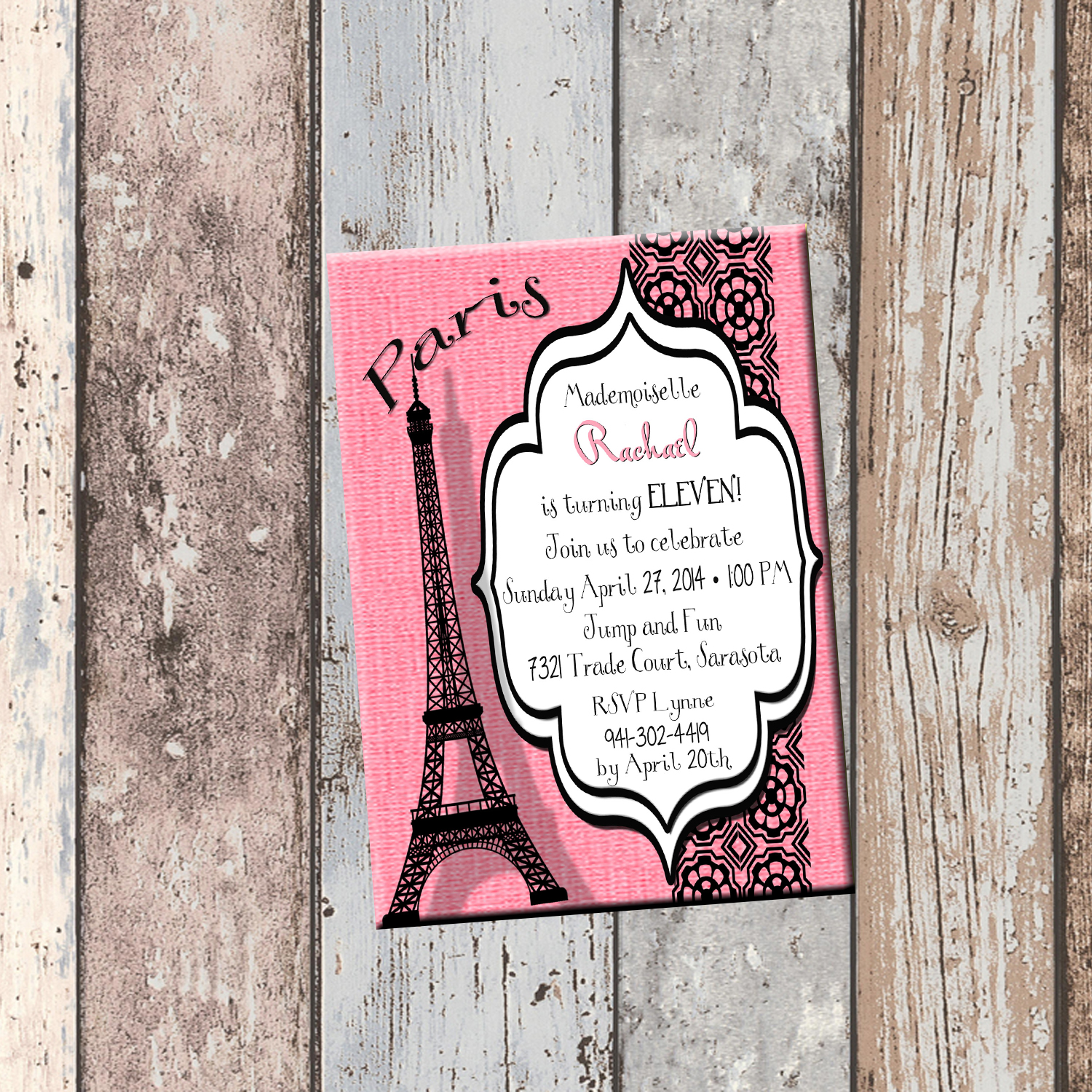 Paris eiffel tower personalized birthday invitation 1 sided paris eiffel tower personalized birthday invitation 1 sided birthday card party invitation french filmwisefo