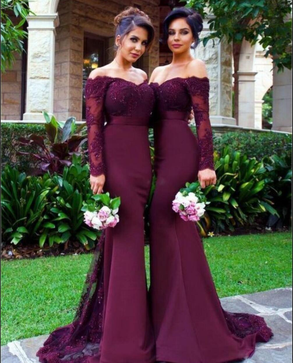 Long sleeve lace prom dress, Purple Mermaid prom dresses, Long ...