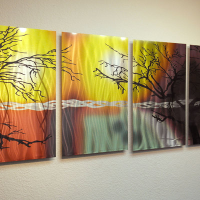 Tree in Silhouette- Abstract Metal Wall Art Contemporary Modern ...