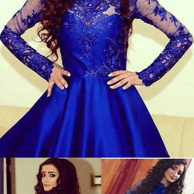 A385 Lace Long Sleeve Prom Dresses Royal Blue Lace Short Prom Gowns