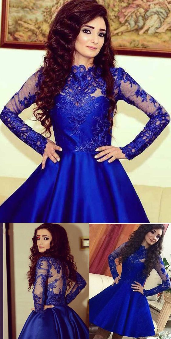 A385 Lace Long Sleeve Prom Dresses, Royal Blue Lace Short Prom Gowns ...