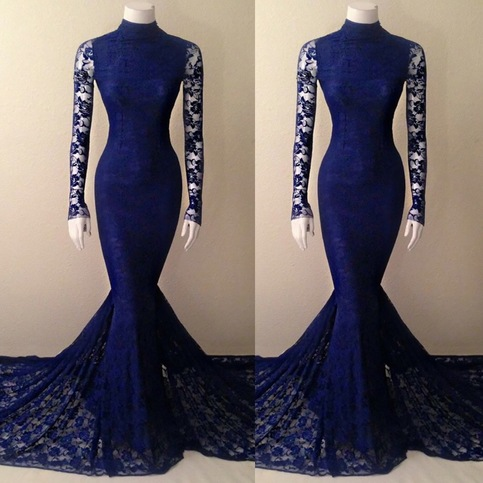 Navy Blue Lace Mermaid High Neck Prom Dress With Long