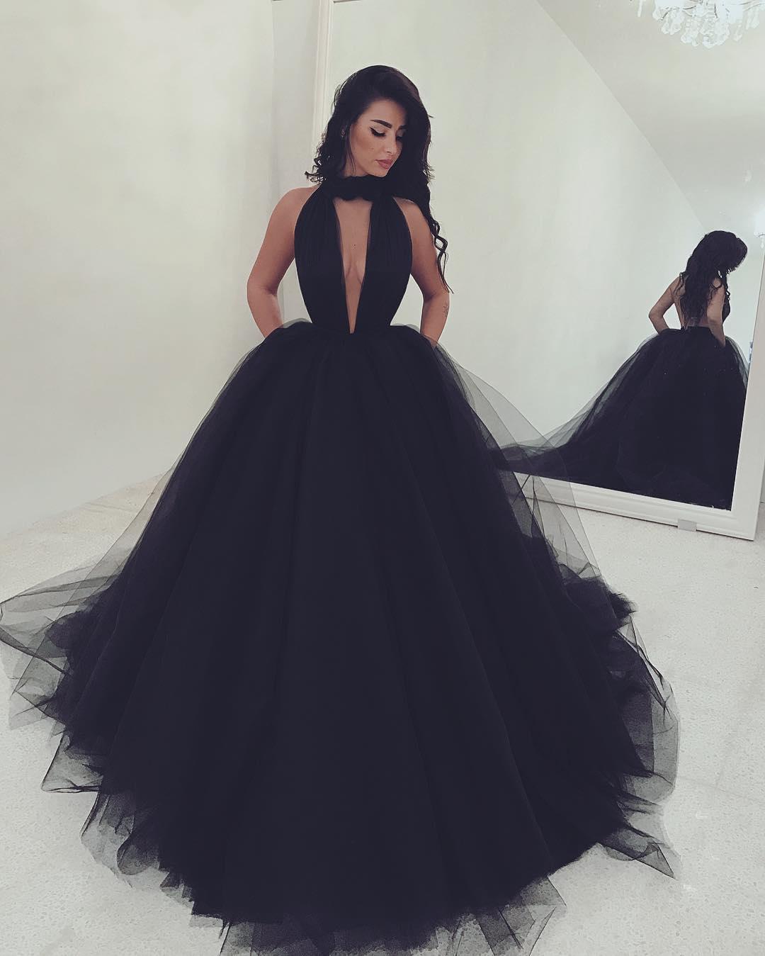 Custom made black deep v neck tulle