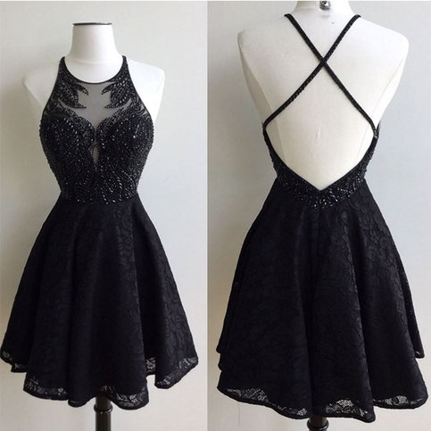 black round neck lace beaded short prom dress cute