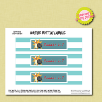 Printable Water Bottle Labels - Bowling Collection