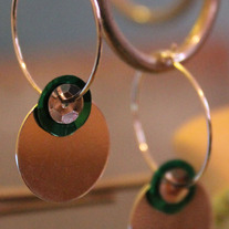 Green & silver coin hoops