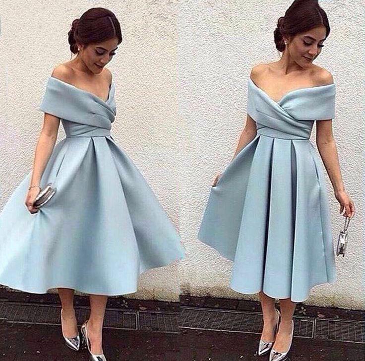 Blue short prom dress, Retro prom dresses, light blue evening dress ...