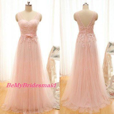 Beautiful Light Pink Tulle Handmade Long Bridesmaid Dresses, Pink ...