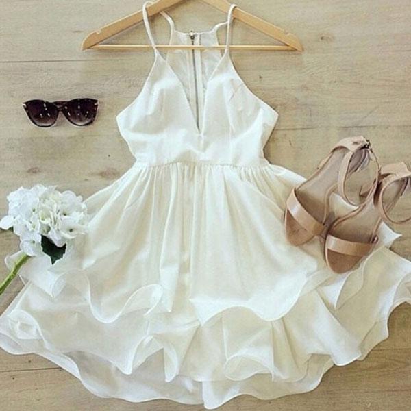 of girl | white v neck short women dress, cute white prom dress ...