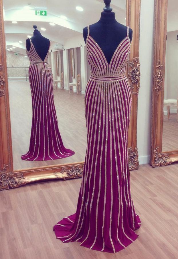 v neck prom dress,mermaid prom dress,gold beaded evening dress ...