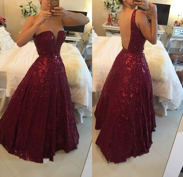 Hot Saes Burgundy Lace Ball Gown Prom Dresses Backless Off the ...