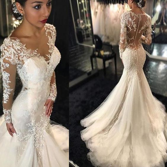 Romantic Boho Wedding Dresses Princess Backless With Long Sleeves Lace  Skirt Mermaid Elegant White Lace Wedding
