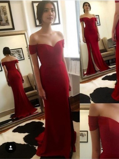 Off Shoulder Red Mermaid Evening Prom Dresses Long Sweetheart