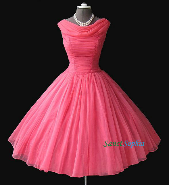 Short Ball Gown Coral Homecoming Dress,Straps Vintage Bridesmaid ...