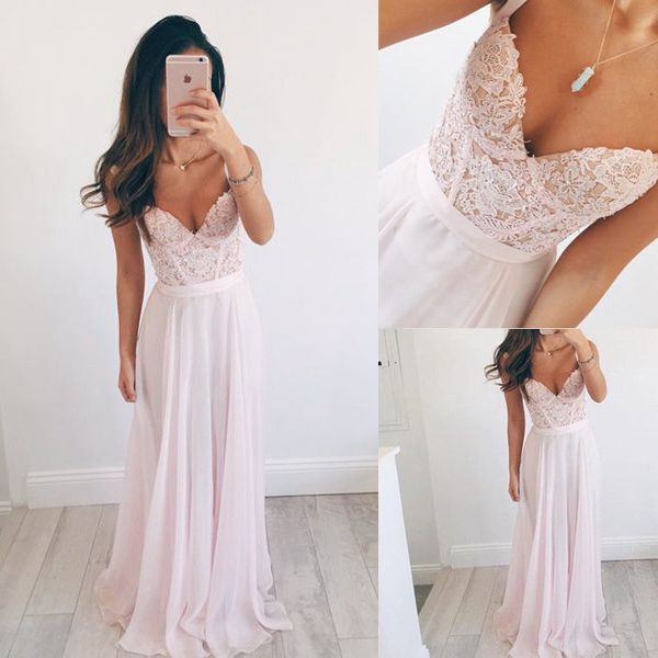 Spaghetti Straps Pink Lace Prom Dresses,Sweetheart Long Prom Dress,Chiffon  Evening Dress Prom