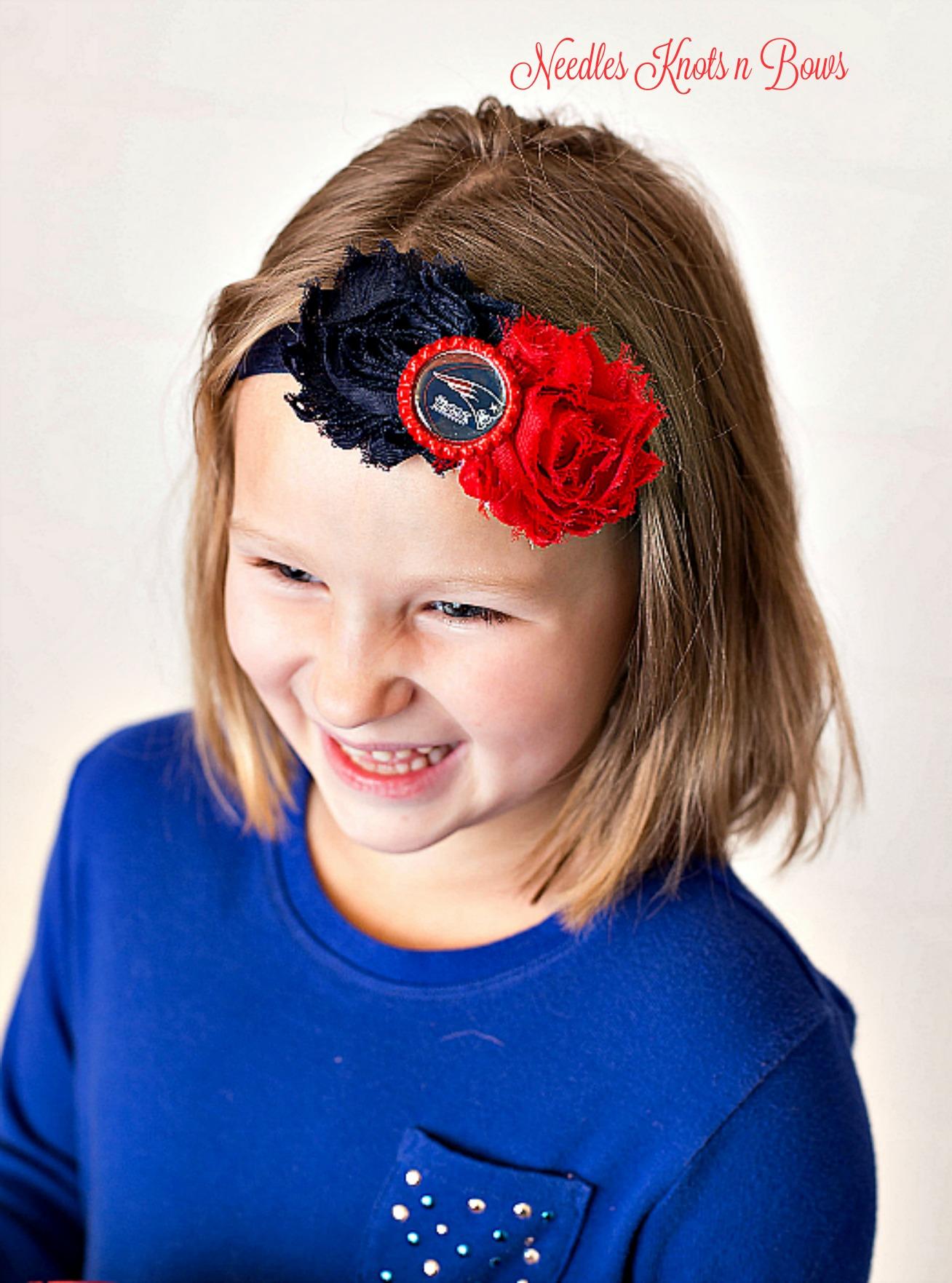 Girls New England Patriots Headband Baby Girls Shabby Chic Patriots
