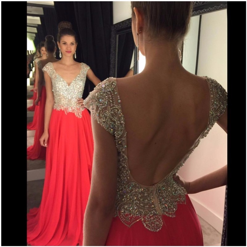Backless Long Chiffon Prom Dress With Beaded Appliques Watermelon ...