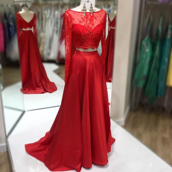 Red Prom Dresses 2 Pieces Prom Dresses Long Sleeves Prom Dresses