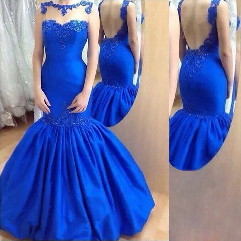 Royal Blue Mermaid Prom Dress,Illusion Prom Gown With Open Back ...