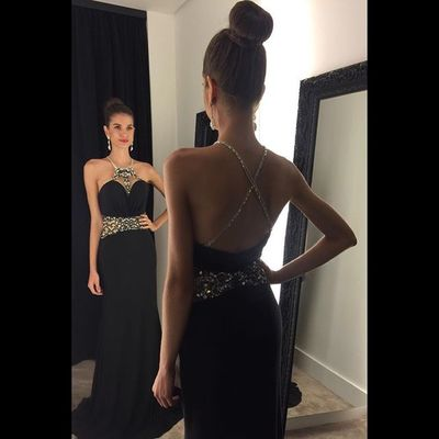 4569373e637 2017 black mermaid prom dresses crystals halter neck backless evening gowns  - Thumbnail 5