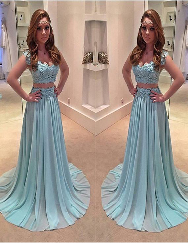 Long Prom dress, Blue prom dress, Two Pieces Prom Dress, Cap ...