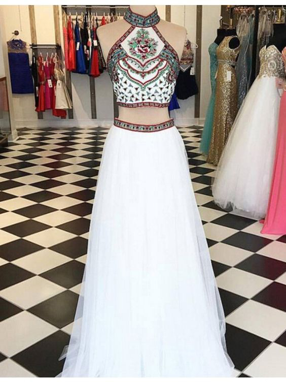 Embroidery Two Piece White Prom Dresses,2017 2-Pieces Pageant Gowns ...