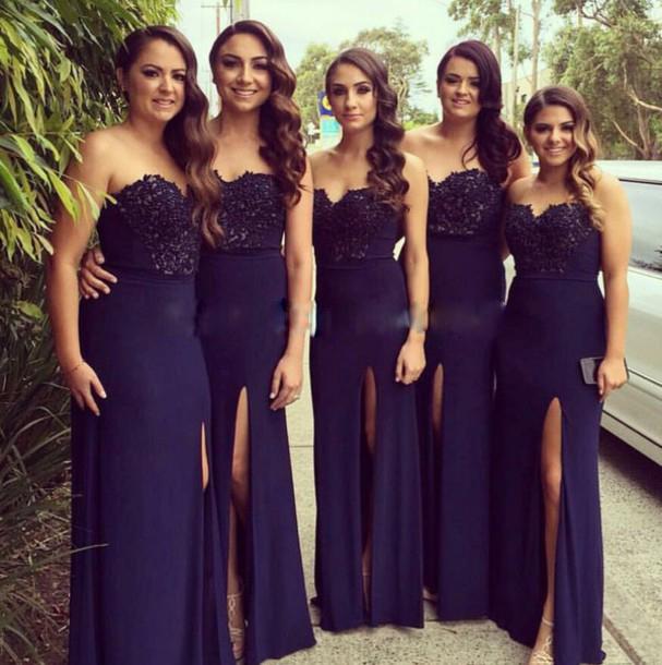 Navy Blue Lace Mermaid Wedding Dresses