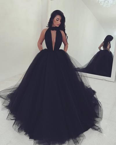 Simple Black Tulle Long Prom Dressblack Evening Dresses Dream