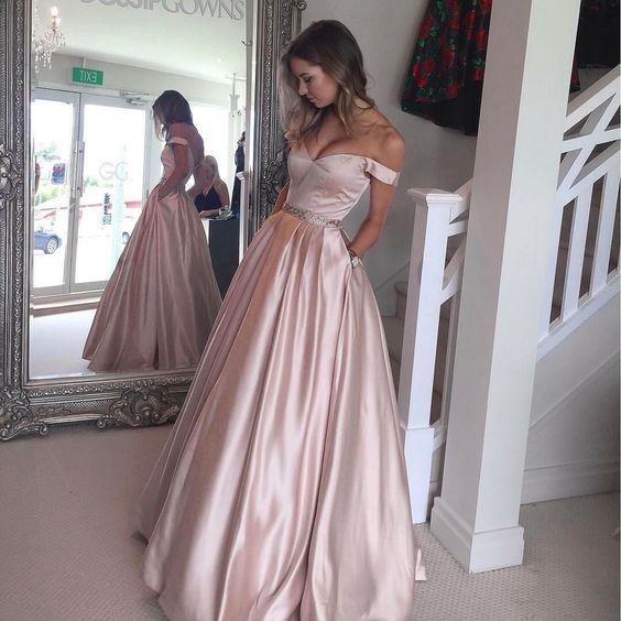 Pink Prom Dressoff The Shoulder Formal Gownprom Gown With Pockets