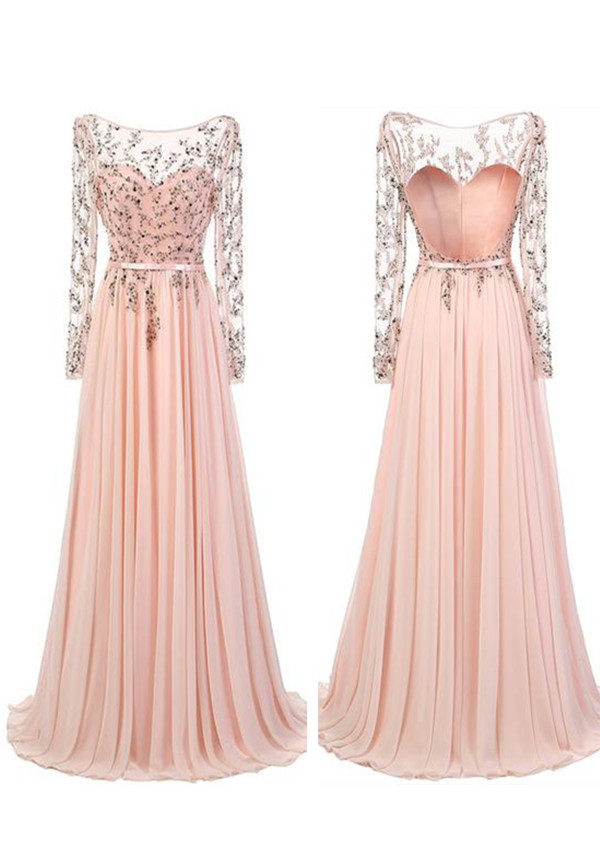 Beautiful Prom Dresses,A-line Long Sleeves Prom Dresses,Floor Length ...