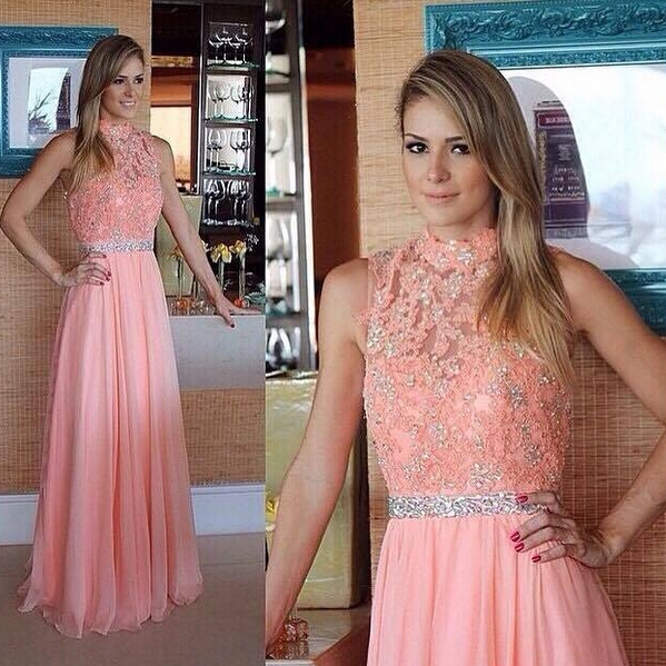 Long prom dress, peach prom dress, lace prom dress, cheap prom dress ...
