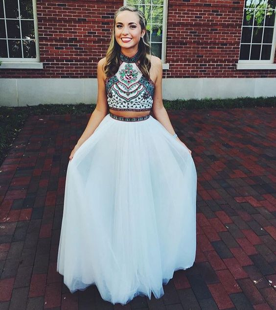 Prom Dresses,White Prom Dress,2 Pieces Prom Dress,Tulle Evening ...