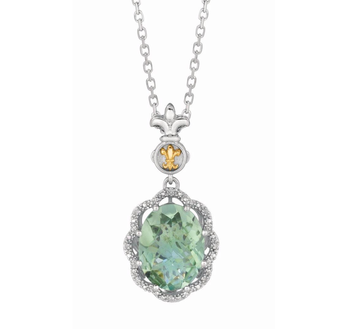 Phillip gavriel sterling silver oval green amethyst pendant necklace phillip gavriel sterling silver oval green amethyst pendant necklace aloadofball Images
