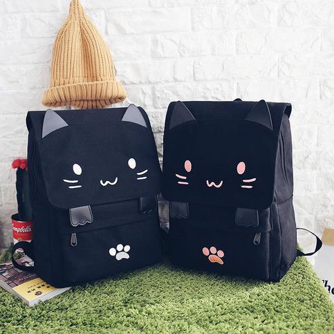 Harajuku Cute Cat-Paaw Backpacks Japanese Kitty Canvas ...