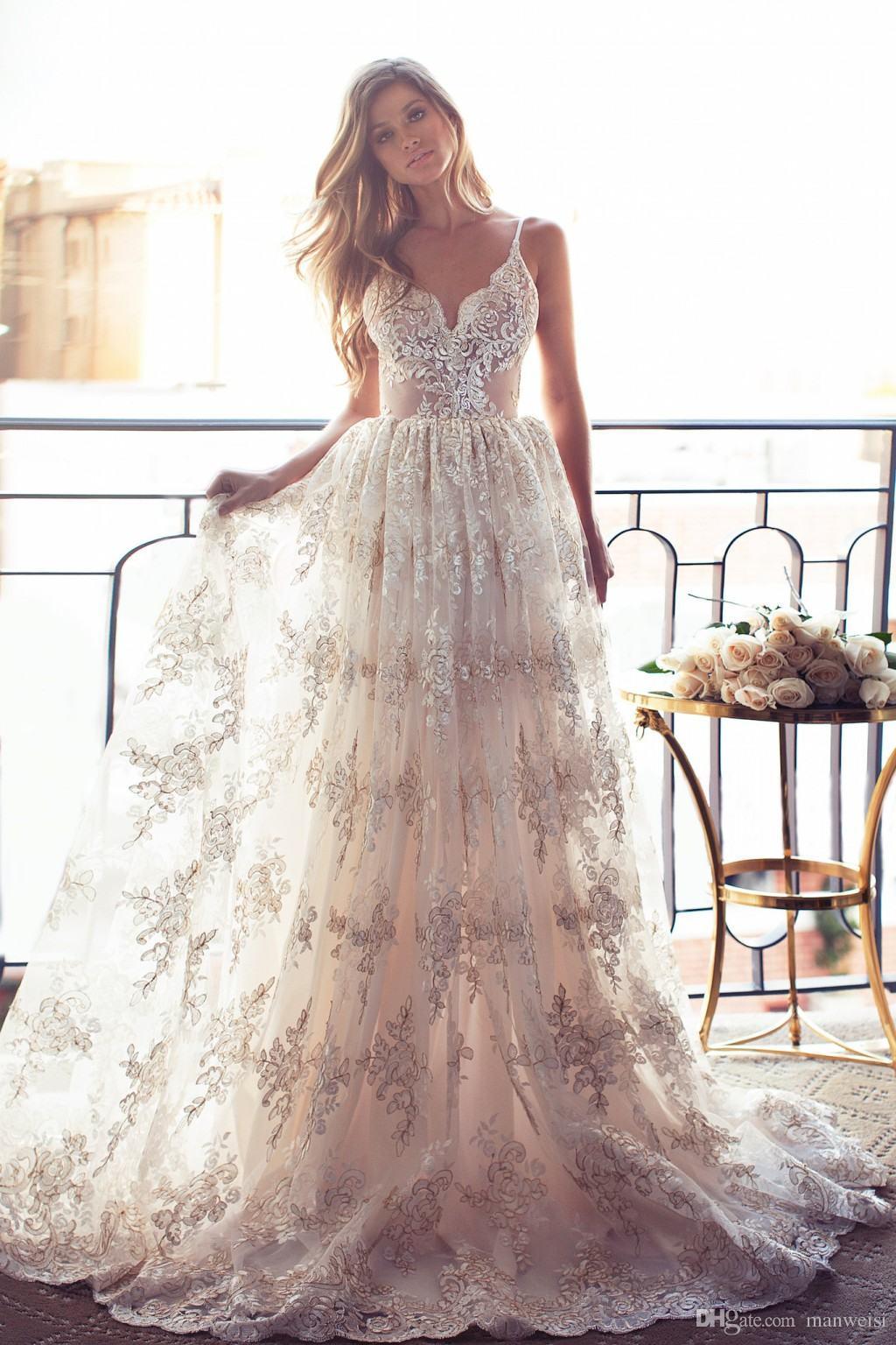 Romantic A-line Strapless Long Lace Wedding Dress · modsele · Online ...