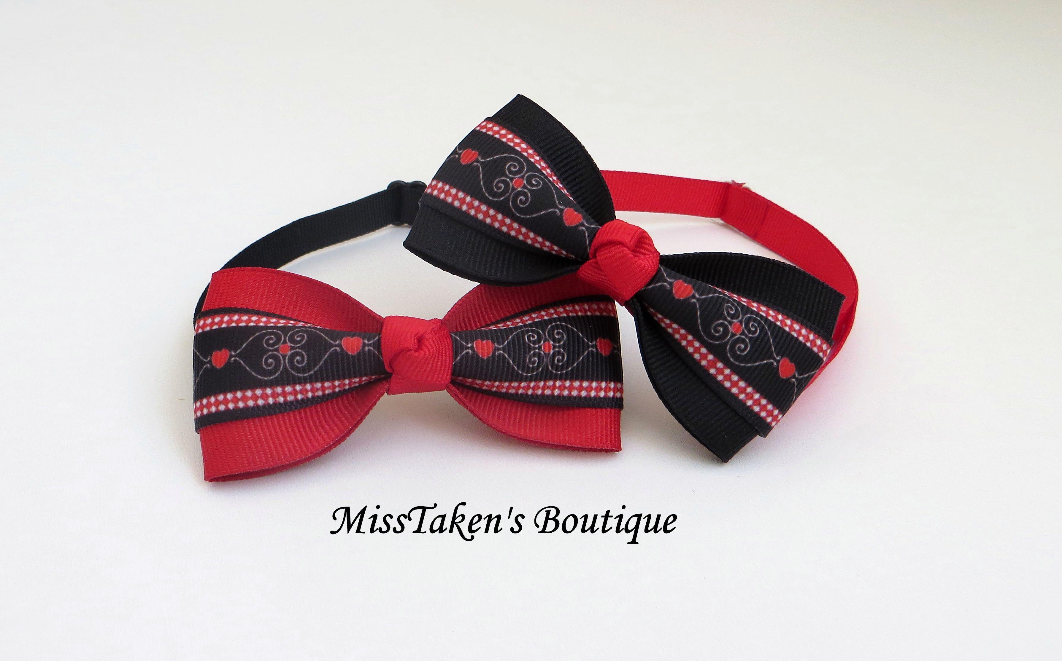 Valentine's Heart Pet Bow Ties · MissTaken's Boutique ...