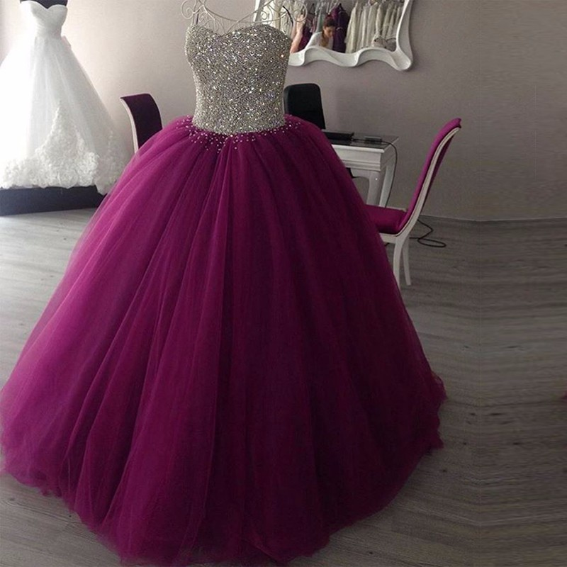 Sparkly sweetheart tulle long prom gown,burgundy ball gown,wedding ...